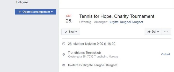 Tennis for hope – meld deg på veldedighetsturnering
